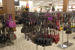 Handbags purse in department store Stock Image