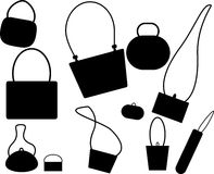 Handbags and Purses. Silhouette selection of 10 ladies handbags and purses isolated on a white background, vector Royalty Free Stock Image