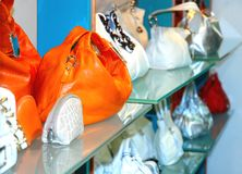 Handbags in the shop. Ladie's handbags in the shop Royalty Free Stock Image