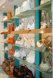 Handbags in the shop. Ladie's handbags in the shop Royalty Free Stock Images