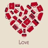 Handbags vector illustration in heart. Woman handbags vector illustration in heart with love Royalty Free Stock Photos