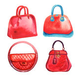 Handbags watercolor Royalty Free Stock Photos