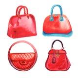 Handbags watercolor Royalty Free Stock Photos