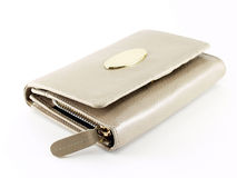 close up closed white beige leather purse isolated on white background Stock Image