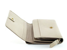 close up open white beige leather purse isolated on white background Royalty Free Stock Image