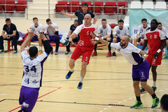 Handball action. Pierre-Yves Ragot, player of Dinamo Bucharest pictured in action during the game between his team and Politehnica Timisoara stock photos
