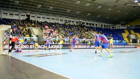 Handball championship Poland-Ukraine in Kiev, Ukraine,. KIEV - FEB 18: Handball championship between HC Motor Zaporozhye (Ukraine) and KS Vive Tauron Kielce ( stock footage