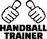 Handball coach german with thumbs. T-Shirt design. Vector royalty free illustration