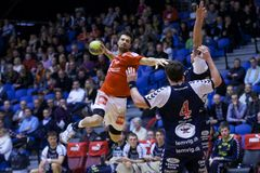 Handball de Alborgue - handball de Lemvig Thyborøn Fotografia de Stock Royalty Free