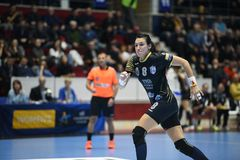 Handball dopasowanie - CSM Bucharest i Midtjylland Fotografia Stock