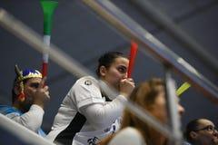Handball dopasowanie - CSM Bucharest i Midtjylland Fotografia Royalty Free