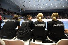 Handball dopasowanie - CSM Bucharest i Midtjylland Zdjęcie Stock