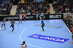 Handball dopasowanie - CSM Bucharest i Midtjylland Obraz Stock