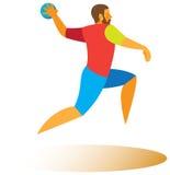 Handball forward throw. High handball player in the rapidly attacking the opponent's goal Stock Photos