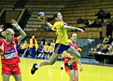 Handball. Frau Stockfoto