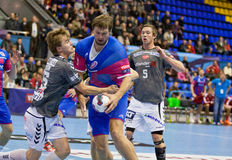 Handball game Motor vs Aalborg Stock Photography