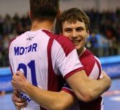 Handball game Motor Zaporozhye vs Kadetten Schaffhausen Stock Photography