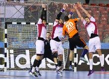 Handball game Motor Zaporozhye vs Kadetten Schaffhausen. KYIV, UKRAINE - NOVEMBER 28, 2015: Luka Maros of Kadetten Schaffhausen attacks during VELUX EHF stock photos