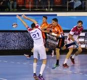 Handball game Motor Zaporozhye vs Kadetten Schaffhausen Royalty Free Stock Images