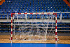 Handball goal. With audience seats in the background Stock Images