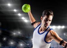 Handball gracz w stadium Obrazy Royalty Free