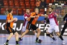Handball gry silnik Zaporozhye vs Kadetten Schaffhausen Obraz Stock
