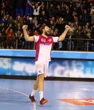Handball gry silnik Zaporozhye vs Kadetten Schaffhausen Zdjęcia Stock