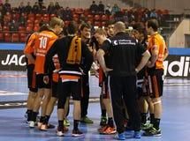 Handball gry silnik Zaporozhye vs Kadetten Schaffhausen Fotografia Royalty Free