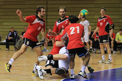 Handball hard foul Stock Photos