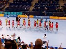 Handball kobiet 17 Sierpień 2004 olimpiady Południowy Dani (wynik 29-29) Zdjęcia Stock