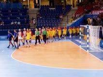 Handball kobiet 17 Sierpień 2004 olimpiady Południowy Dani (wynik 29-29) Zdjęcia Royalty Free