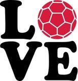 Handball Love. Love word with red handball vector Royalty Free Stock Photo