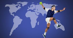 Handball mężczyzna z światową mapą zdjęcie stock
