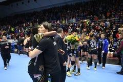 Handball match - CSM Bucharest and Midtjylland Royalty Free Stock Image