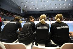 Handball match - CSM Bucharest and Midtjylland Stock Photo