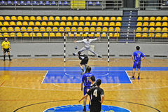 Handball match, player shot a penalty Royalty Free Stock Images