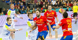 Handball match Spain vs Slovenia Royalty Free Stock Images