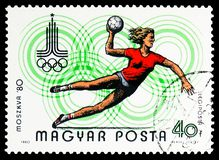 Handball, 22nd Summer Olypmic Games, Moscow 1980, serie, circa 1980. MOSCOW, RUSSIA - FEBRUARY 10, 2019: A stamp printed in Hungary devoted to 22nd Summer royalty free stock image