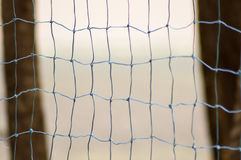 Handball net with two trunks of palm stock image
