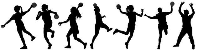 Handball player in action  silhouette illustration isolated on white background. Woman handball player symbol. Handball girl jumping in the air. Handball Stock Photography