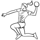 Handball player in attack. Handball player with the ball in attack. Vector illustration Stock Photography