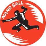 Handball Player Jump Striking Circle Woodcut Stock Photo