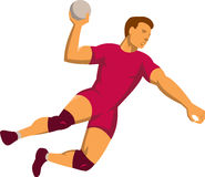Handball Player Jumping Retro Royalty Free Stock Images