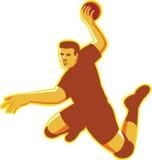 Handball Player Jumping Striking Retro Royalty Free Stock Photos