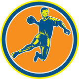 Handball Player Jumping Throwing Ball Circle Woodcut Royalty Free Stock Photography