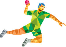 Handball Player Jumping Throwing Ball Low Polygon Royalty Free Stock Photography
