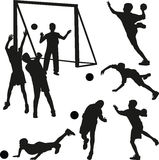Handball player silhouette vector Royalty Free Stock Image