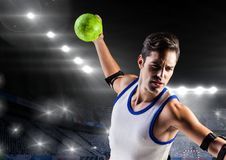 Handball player in stadium. Digital composition of a handball player in stadium Royalty Free Stock Images