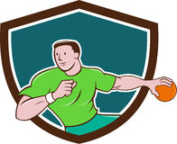 Handball Player Throwing Ball Crest Cartoon Royalty Free Stock Images