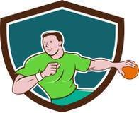 Handball Player Throwing Ball Crest Cartoon Royalty Free Stock Images